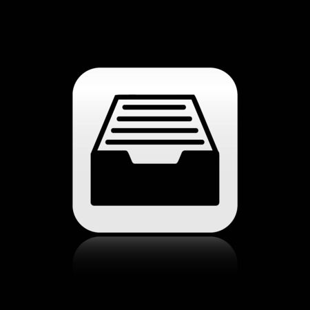 Black Drawer with documents icon isolated on black background. Archive papers drawer. File Cabinet Drawer. Office furniture. Silver square button. Vector Illustration Иллюстрация