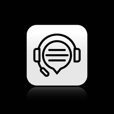 Casque noir avec icône de chat bulle isolé sur fond noir. Support service client, hotline, centre d'appels, faq, maintenance. Bouton carré argenté. Illustration vectorielle