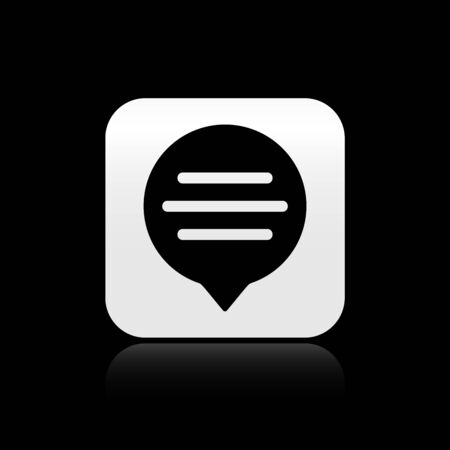 Black Speech bubble chat icon isolated on black background. Message icon. Communication or comment chat symbol. Silver square button. Vector Illustration Иллюстрация