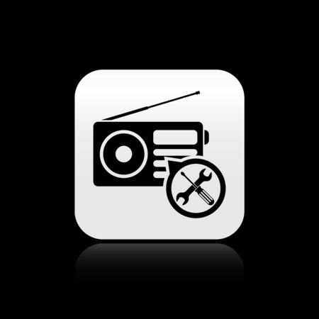 Black Radio with screwdriver and wrench icon isolated on black background. Adjusting, service, setting, maintenance, repair, fixing. Silver square button. Vector Illustration Stock Illustratie