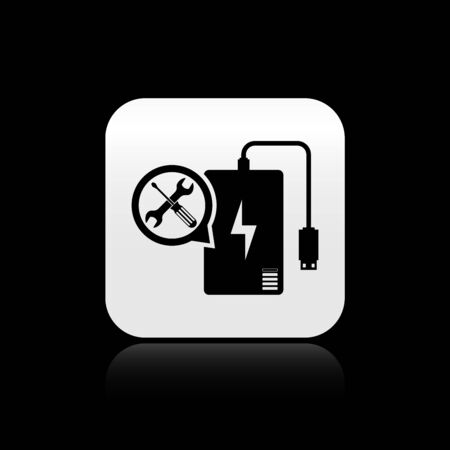 Black Power bank with screwdriver and wrench icon isolated on black background. Adjusting, service, setting, maintenance, repair, fixing. Silver square button. Vector Illustration  イラスト・ベクター素材