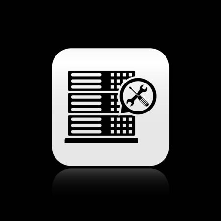 Black Database server with screwdriver and wrench icon isolated on black background. Adjusting, service, setting, maintenance, repair, fixing. Silver square button. Vector Illustration