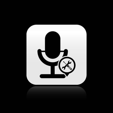 Black Microphone with screwdriver and wrench icon isolated on black background. Adjusting, service, setting, maintenance, repair, fixing. Silver square button. Vector Illustration Stock Illustratie
