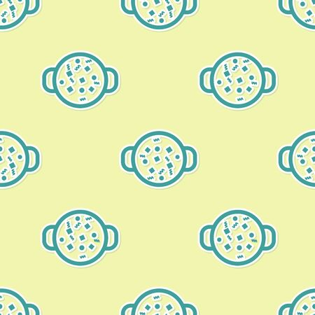 Green Cooking soup in pot icon isolated seamless pattern on yellow background. Boil or stew food symbol. Vector Illustration