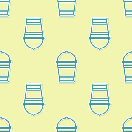 Green Bucket icon isolated seamless pattern on yellow background. Vector Illustration