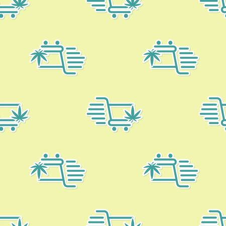 Green Shopping cart with marijuana or cannabis leaf icon isolated seamless pattern on yellow background. Online buying. Delivery service. Supermarket basket. Vector Illustration