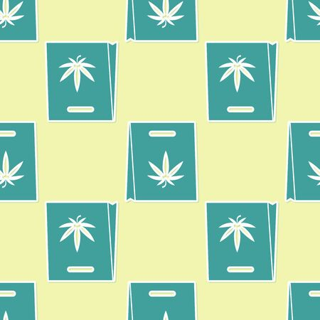 Green Shopping paper bag of medical marijuana or cannabis leaf icon isolated seamless pattern on yellow background. Buying cannabis. Hemp symbol. Vector Illustration
