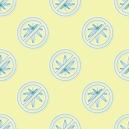 Green Stop marijuana or cannabis leaf icon isolated seamless pattern on yellow background. No smoking marijuana. Hemp symbol. Vector Illustration
