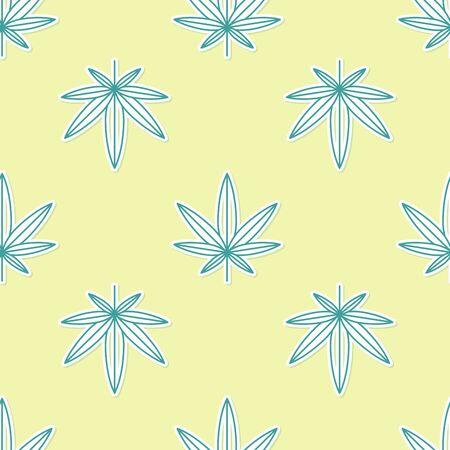 Green Medical marijuana or cannabis leaf icon isolated seamless pattern on yellow background. Hemp symbol. Vector Illustration