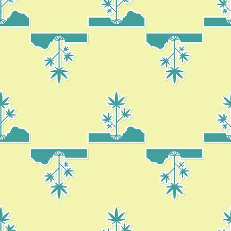 Green Planting marijuana or cannabis plant in the ground icon isolated seamless pattern on yellow background. Marijuana growing concept. Hemp symbol. Vector Illustration