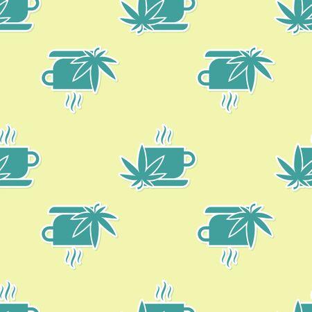 Green Cup tea with marijuana or cannabis leaf icon isolated seamless pattern on yellow background. Marijuana legalization. Hemp symbol. Vector Illustration