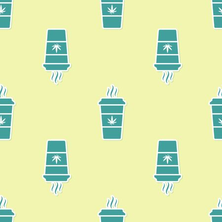 Green Cup coffee with marijuana or cannabis leaf icon isolated seamless pattern on yellow background. Marijuana legalization. Hemp symbol. Vector Illustration