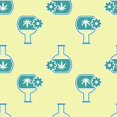 Green Chemical test tube with marijuana or cannabis leaf icon isolated seamless pattern on yellow background. Research concept. Laboratory CBD oil concept. Vector Illustration