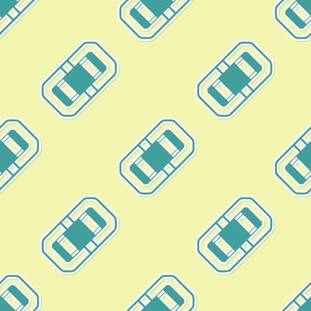Green Rafting boat icon isolated seamless pattern on yellow background. Inflatable boat. Water sports, extreme sports, holiday, vacation, team building. Vector Illustration