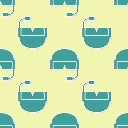 Green Military helmet icon isolated seamless pattern on yellow background. Army hat symbol of defense and protect. Protective hat. Vector Illustration Иллюстрация