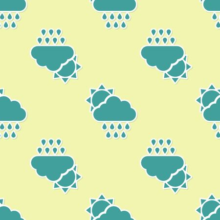 Green Cloud with rain and sun icon isolated seamless pattern on yellow background. Rain cloud precipitation with rain drops. Vector Illustration