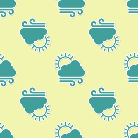Green Windy weather icon isolated seamless pattern on yellow background. Cloud with sun and wind. Vector Illustration