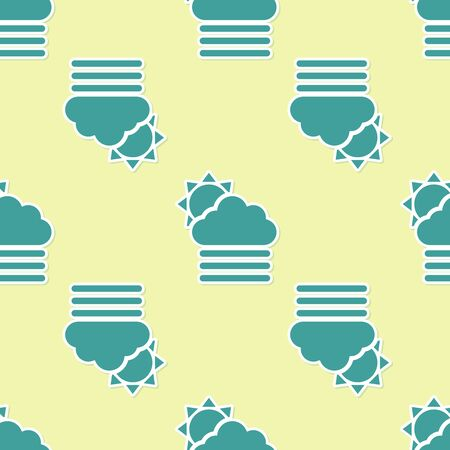 Green Fog and cloud with sun icon isolated seamless pattern on yellow background. Vector Illustration