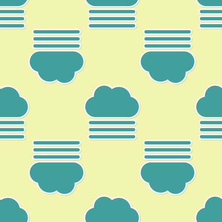 Green Fog and cloud icon isolated seamless pattern on yellow background. Vector Illustration