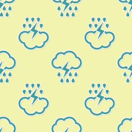 Green Cloud with rain and lightning icon isolated seamless pattern on yellow background. Rain cloud precipitation with rain drops.Weather icon of storm. Vector Illustration