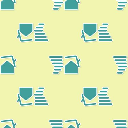 Green Tornado swirl damages house roof icon isolated seamless pattern on yellow background. Cyclone, whirlwind, storm funnel, hurricane wind icon. Vector Illustration  イラスト・ベクター素材
