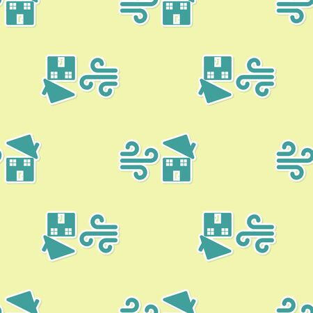 Green Tornado swirl damages house roof icon isolated seamless pattern on yellow background. Cyclone, whirlwind, storm funnel, hurricane wind icon. Vector Illustration Illustration