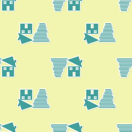 Green Tornado swirl damages house roof icon isolated seamless pattern on yellow background. Cyclone, whirlwind, storm funnel, hurricane wind icon. Vector Illustration Stock Vector - 130779920