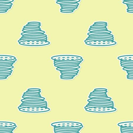 Green Tornado icon isolated seamless pattern on yellow background. Cyclone, whirlwind, storm funnel, hurricane wind or twister weather icon. Vector Illustration Stock Vector - 130779921