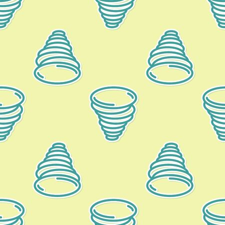 Green Tornado icon isolated seamless pattern on yellow background. Cyclone, whirlwind, storm funnel, hurricane wind or twister weather icon. Vector Illustration Illustration