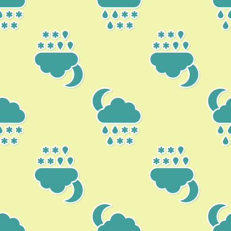 Green Cloud with snow, rain and moon icon isolated seamless pattern on yellow background. Weather icon. Vector Illustration Illustration