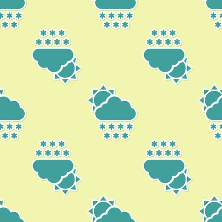 Green Cloud with snow and sun icon isolated seamless pattern on yellow background. Cloud with snowflakes. Single weather icon. Snowing sign. Vector Illustration Ilustração