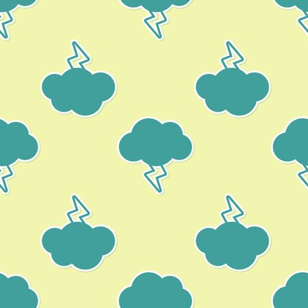 Green Storm icon isolated seamless pattern on yellow background. Cloud and lightning sign. Weather icon of storm. Vector Illustration Ilustração
