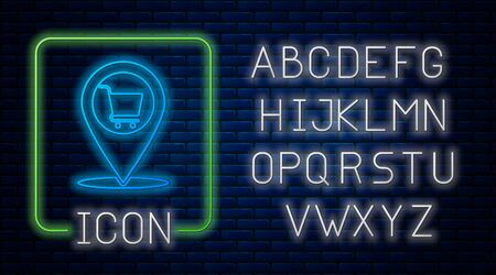 Glowing neon Map pointer with shopping cart icon isolated on brick wall background. Pin point shop and shopping. Supermarket basket symbol. Neon light alphabet. Vector Illustration