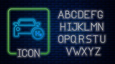 Glowing neon Hydrogen car icon isolated on brick wall background. H2 station sign. Hydrogen fuel cell car eco environment friendly zero emission. Neon light alphabet. Vector Illustration