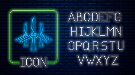 Glowing neon Wind turbines icon isolated on brick wall background. Wind generator sign. Windmill silhouette. Windmills for electric power production. Neon light alphabet. Vector Illustration