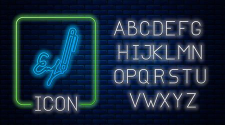 Glowing neon Signature line icon isolated on brick wall background. Pen and undersign, underwrite, ratify symbol. Neon light alphabet. Vector Illustration 向量圖像