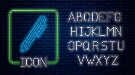 Glowing neon Pen line icon isolated on brick wall background. Neon light alphabet. Vector Illustration Иллюстрация