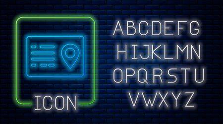 Glowing neon Address book icon isolated on brick wall background. Telephone directory. Neon light alphabet. Vector Illustration 일러스트