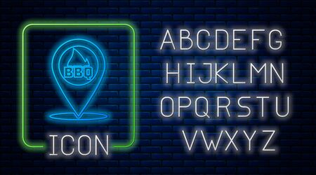 Glowing neon Map pointer with barbecue icon isolated on brick wall background. Fire flame icon. Barbecue and BBQ grill symbol. Neon light alphabet. Vector Illustration 일러스트