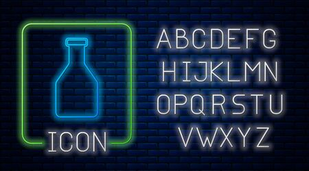 Glowing neon Ketchup bottle icon isolated on brick wall background. Neon light alphabet. Vector Illustration