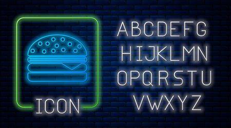 Glowing neon Burger icon isolated on brick wall background. Hamburger icon. Cheeseburger sandwich sign. Neon light alphabet. Vector Illustration Ilustração