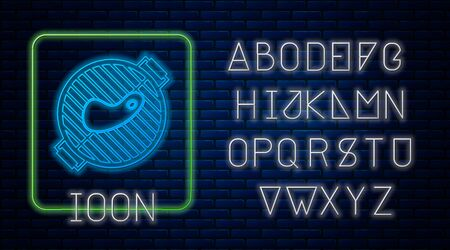 Glowing neon Barbecue grill with steak icon isolated on brick wall background. BBQ grill party. Neon light alphabet. Vector Illustration