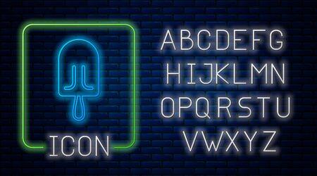 Glowing neon Ice cream icon isolated on brick wall background. Sweet symbol. Neon light alphabet. Vector Illustration