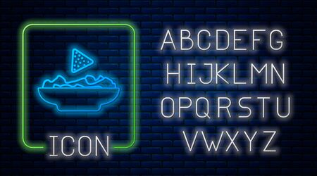 Glowing neon Nachos in plate icon isolated on brick wall background. Tortilla chips or nachos tortillas. Traditional mexican fast food. Neon light alphabet. Vector Illustration