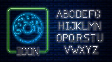 Glowing neon Donut with sweet glaze icon isolated on brick wall background. Neon light alphabet. Vector Illustration