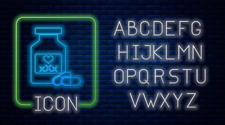 Glowing neon Medicine bottle with pills for potency, aphrodisiac icon isolated on brick wall background. Sex pills for men and women. Neon light alphabet. Vector Illustration