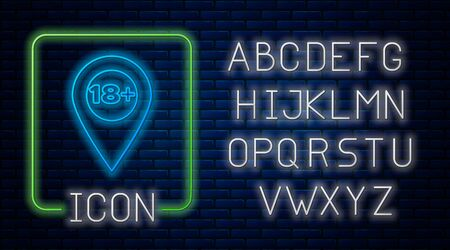 Glowing neon Map pointer with 18 plus icon isolated on brick wall background. Age restriction symbol. 18 plus content sign. Adults content only icon. Neon light alphabet. Vector Illustration 일러스트
