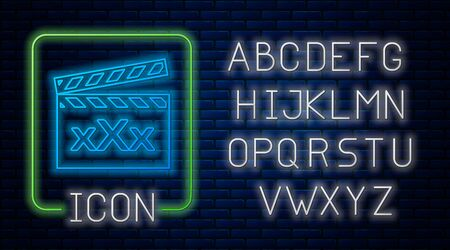 Glowing neon Movie clapper with inscription XXX icon isolated on brick wall background. Age restriction symbol. 18 plus content sign. Adult channel. Neon light alphabet. Vector Illustration