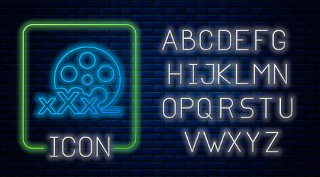 Glowing neon Film reel with inscription XXX icon isolated on brick wall background. Age restriction symbol. 18 plus content sign. Adult channel. Neon light alphabet. Vector Illustration Çizim