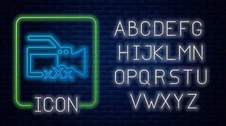 Glowing neon Video camera with inscription XXX icon isolated on brick wall background. Age restriction symbol. 18 plus content sign. Adult channel. Neon light alphabet. Vector Illustration Çizim
